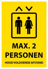 Corona sticker lift 'Max. 2 personen'