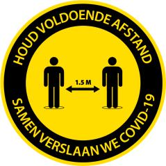 Corona sticker rond 'Houd afstand'
