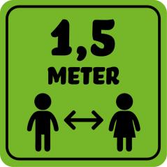 Corona sticker kinderen vierkant '1,5 meter'