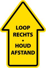 Corona sticker pijl 'Loop rechts'