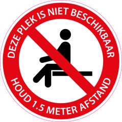 Corona sticker 'Plek niet beschikbaar'