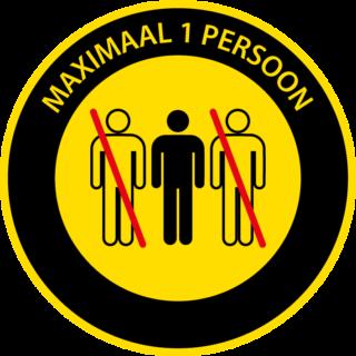 Corona sticker lift 'Maximaal 1 persoon'