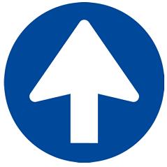 Corona sticker pijl ' 1 richting'